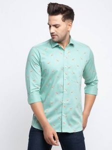 Elegant Cotton Slim Fit Printed Full Sleeve Shirt For Men's (Green) (Pack of 1)