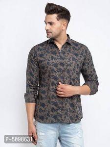 Elegant Cotton Slim Fit Printed Full Sleeve Shirt For Men's (Multi-Color) (Pack of 1)