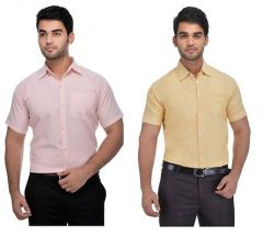 Men's Fashionable and Stylish Solid Cotton Formal Short Sleeves Shirt (Pink & Orange) (Pack of 2)