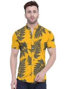 Printed Slub Cotton Short Sleeve Casual Shirt for Men's (Yellow) (Pack of 1)