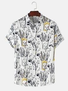 Regular Fit and Multi Printed Cotton Short Sleeve Casual Shirt for Men's (White) (Pack of 1)
