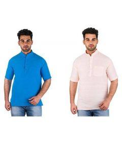 Men's Stylish Half Sleeve Khadi Kurta For Festival & Partywear (Multi-Color) (Pack of 2)