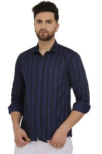 Regular Fit Stylish and fashionable Printed Cotton Long Sleeves Casual Shirt For Men's (Blue) (Pack of 1)
