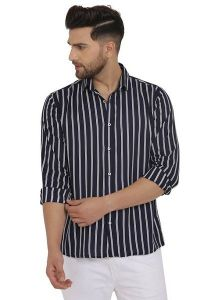 Regular Fit Stylish and fashionable Printed Cotton Long Sleeves Casual Shirt For Men's (Blue & White) (Pack of 1)