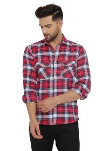 Regular Fit Stylish and fashionable Printed Cotton Long Sleeves Casual Shirt For Men's (Red) (Pack of 1)