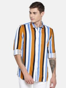 Regular Fit Cotton Striped Long Sleeves Casual and Party Wear Shirt For Men's (Multi-Color)