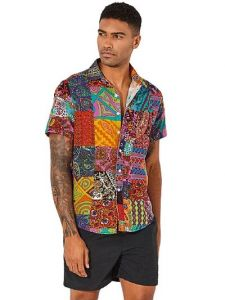 Regular Fit StylishPrinted Cotton Blend Short Sleeves Casual Shirt For Men's (Multi-Color) (Pack of 1)