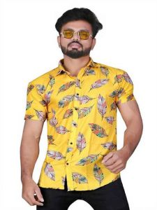 Regular Fit Stylish Digital Printed Cotton Blend Shirt For Men's (Yellow) (Pack of 1)