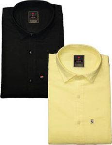 Regular Fit Stylish Solid Cotton Long Sleeves Shirt For Men's (Black & Lemon) (Pack of 2)