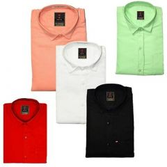 Regular Fit Stylish Solid Cotton Long Sleeves Shirt For Men's (Multi-Color) (Pack of 5)