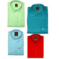 Regular Fit Stylish Solid Cotton Long Sleeves Shirt For Men's (Multi-Color) (Pack of 4)