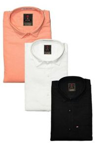 Regular Fit Stylish Solid Cotton Long Sleeves Shirt For Men's (Multi-Color) (Pack of 3)