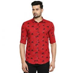 Stunning Slim Fit Stylish Printed Cotton Full Sleeves Casual Shirt For Men's (Red) (Pack of 1)