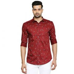 Slim Fit Stunning Stylish Floral Printed Cotton Full Sleeves Casual Shirt For Men's (Pack of 1)