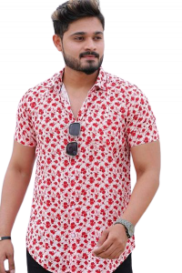 Stylish and Stunning Printed Rayon Short Sleeves Casual Shirt For Men's (Red)