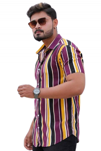 Stylish and Stunning Striped Printed Rayon Short Sleeves Casual Shirt For Men's (Multi-Color)
