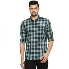 Stunning Stylish Cotton Checked Printed Long Sleeves Casual Shirt For Men's (Green) (Pack of 1)