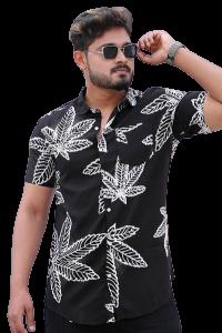 Stylish and Stunning Printed Rayon Half Sleeves Casual Shirt For Men's (Black)