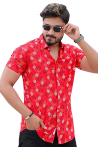 Stylish and Stunning Printed Rayon Half Sleeves Casual Shirt For Men's (Red)