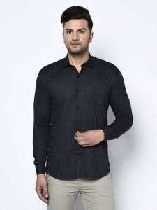 Stylish and Fashionable Self Printed Cotton Full Sleeves Casual Shirt For Men's (Black)
