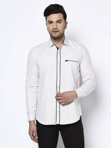 Stylish and Fashionable Self Printed Cotton Full Sleeves Casual Shirt For Men's (White)