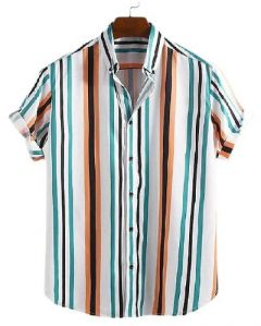 Stylish and Fashionable Striped Printed Cotton Short Sleeves Casual Shirt For Men's (Multi-Color) (Pack of 1)