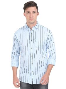 Aidhan Paul Comfortable Slim Fit Striped Casual Shirt For Men's (White)