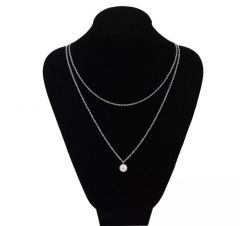 New Trendy Doule Line Chain With White Moti