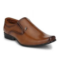 Comfortable and Stylish Solid Synthetic Leather Slip-on Formal Shoes For Men (Tan) (Pack of 1)