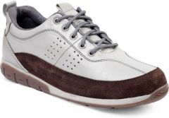 Ramoz Comfortable and Durable Genuine Leather Casual Shoes For Men's (White & Brown)