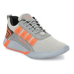 Comfortable Mesh Self Design Lace-Up Running Shoes For Men's and Boy's (Grey)