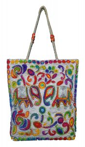 BAGO Fabric Fashionable and Stylish Carry and Shopping Bag For Women's & Multipurpose Use (Multi-Color) (Pack of 1)
