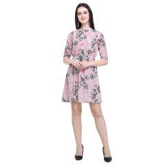 G.P Daisy Regular Wear Short, Stlyish Printed, Short Dress For Womens (Pink)