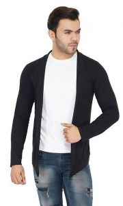 Slim Fit Solid Cotton Full Sleeves Open Long Sleeve Shrug For Mens (Pack Of 1)