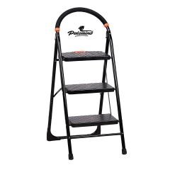 PALOMINO Heavy Duty Folding Stepladders with Wide 3 Steps Ladder Sidhi (Black) (3.1 Feet)