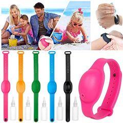 Homeoculture Hand Sanitizer Adjustable Wristband Sanitizer | Refillable Silicone Wristband for Hand Sanitizer (Multicolor) (Pack Of 4)