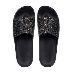 Flip Flops Stylish and Trending Material Rubber Sliders Slippers for Ladies (Black)