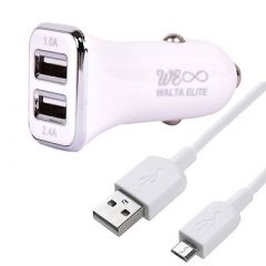 Car 3.4 Amp White Charger & USB Cable With Two USB Port