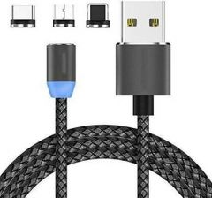 Magnetic 360 Degree 3 Ampere USB Fast Charging Data Cable Compatible With Lightning Micro , iOS Lightning Port, Type-C Port (Pack Of 1)