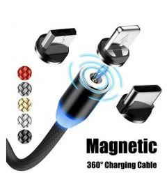Multi 3-in-1 Cable Magnetic Charging USB Cable With LED For Andriod Smartphones (Pack Of 1)