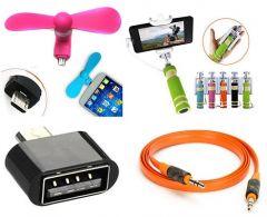 Selfie Stick With OTG, Aux Cable & USB Fan | 5v 1.2 W Flexible Portable USB LED Light (Pack Of 4)