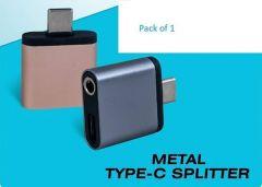 Metal Type- C Splitter Square Adapter Reversible Design (Pack of 1)