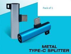 Metal Type-C Splitter Round Adapter Reversible Design (Pack of 1)