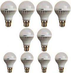 3W Led Bulb Plastic Body Suitable For Lamps, Torch Lights, Holder (Pack of 10)