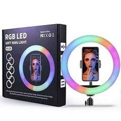 10.2 Inch LED Soft Ring Light, RGB Flash Ring Light For Camera Smartphone Youtube Video Shooting & Makeup Light (Without Tripod) (Pack Of 1)