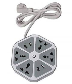 Hexagon Socket 6 Socket Extension Boards Surge Protector With 4 USB 2.0 Amp Charging Points For Home & Office (Pack Of 1)