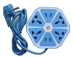 Hexagon Socket 6 Socket Extension Boards Surge Protector With 4 USB 2.0 Amp Charging Points For Home & Office (Blue) (Pack Of 1)