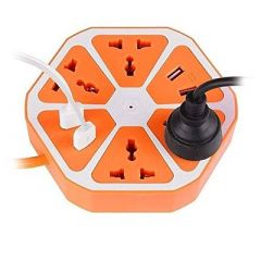 Hexagon Socket Multi Switched USB Hexagon Charging Station EU Plug For Home & Office (Orange) (Pack Of 1)