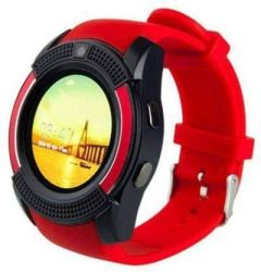V8 Mobile Smartwatch With Camera & Sim Card Support (Red)