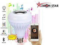 LED Music Bulb With Bluetooth Speaker Light Bulb With Remote Control For Home, Bedroom, Party Decoration (White)